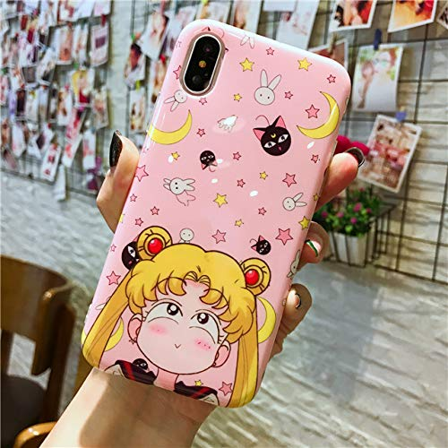 for iPhone X & XS & XR & XS MAX - Case for iPhone 6 6s 7 8 Plus Japanese Anime Hello Kitty Back Cover for iPhone X XR XS Max Cartoon Sailor Moon Doraemon - by ANNELE - 1 PCs -
