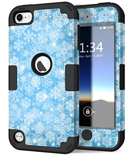 iPod 6 Case, iPod 5 Case, Hocase Drop Protection Shock Absorbing Silicone Bumper+Hard Shell Hybrid Dual Layer Full-Body Protective Case for iPod touch 5th/6th Generation - Snowflake / Black