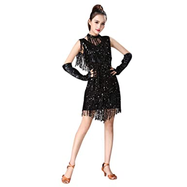 24d8f0379 Image Unavailable. Image not available for. Color: Hankyky Women's Tassel  Sequin Fringe Ballroom Latin Tango Rumba Cha Cha Samba Dance Dress Stage  Costume