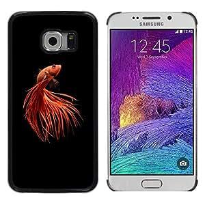 FlareStar Colour Printing Gold Fish Pet Minimalist Red Black Tail cáscara Funda Case Caso de plástico para Samsung Galaxy S6 EDGE / SM-G925 / SM-G925A / SM-G925T / SM-G925F / SM-G925I