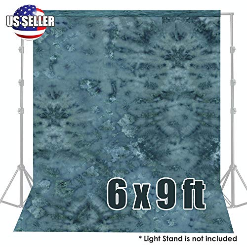 Photography 6x9Ft Blue Hand Painted Tie Dye Muslin Screen Backdrop Background ()