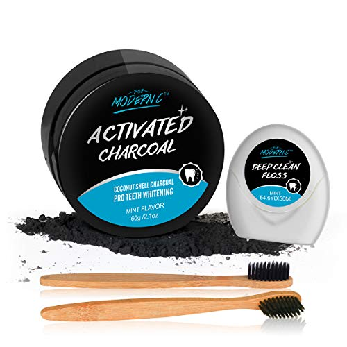 POP MODERN.C Activated Charcoal Toothpaste Teeth Whitening Powder with 2 Bristles Bamboo Toothbrushes & Teeth Floss (Teeth Powder -Mint2) (Whitening Floss Teeth)