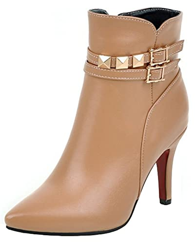 Women's Sexy Studded Rivets Buckle Straps Pointed Toe Side Zipper Stiletto High Heel Ankle Boots