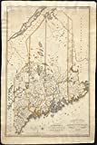 Historic Map | 1815 Map of the district of Maine from the latest and best authorities | Antique Vintage Reproduction