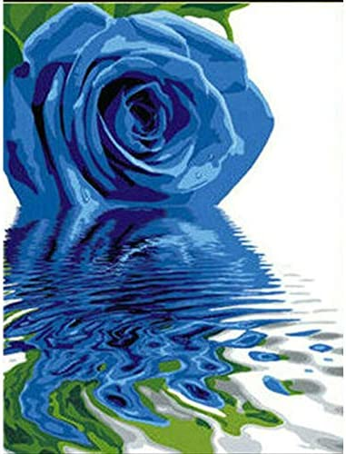 AFSZHWLP Blau Rose Wasser Blume DIY Digitale Malerei Durch Zahlen Moderne Wand Kunst Leinwand Malerei Geschenk f/ür Kinder Home Decor
