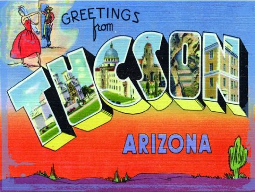 Traditional Road Trip American (Tucson Metal Sign, Vintage Travel Postcard Highlighting Traditional American Destinations)
