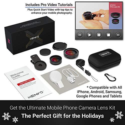 Kit de lentes Xenvo Pro para iPhone y Android, lentes macro y gran angular con luz LED y estuche de viaje