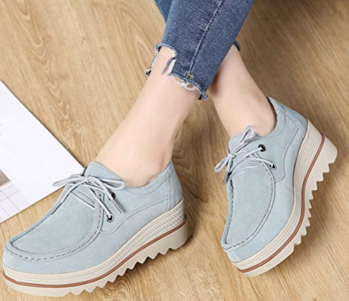 Women's Up Blue1 Platform Orlancy Walking Leather Casual Loafers Lace Suede Lightweight fUdqxga