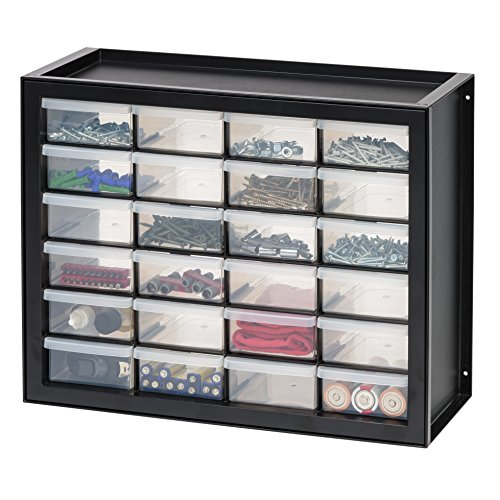 IRIS USA, Inc DPC-24 24 Drawer Parts And Hardware Cabinet, 19.5 Inch By 15.5 Inch By 7 Inch, Black