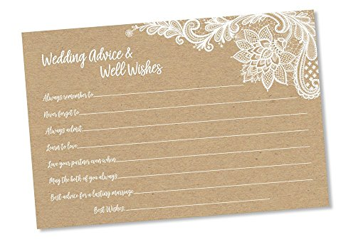 Wedding Advice and Well Wishes - Rustic Kraft Lace (50-cards) Reception Wishing Guest Book Alternative, Bridal Shower Games Note Card Marriage Best Advice Bride To Be or For Mr & Mrs by All-Ewired-Up