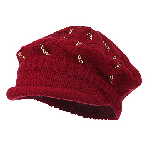 SS/Hat Rolled Brim Tam Beret with Gold Chains - Burgundy OSFM -