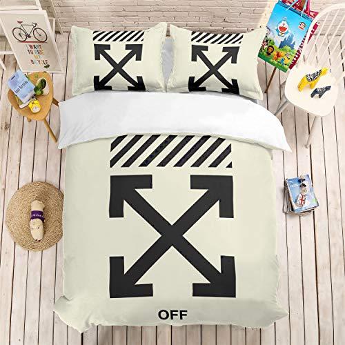 H Twin(172x218cm) bed linings Ensemble de literie Imprimé 3D Blanc Cassé 3 Pièces De Literie 100% Microfibre pour Cadeaux (1 Housse De Couette + 2 Taies d'oreiller) H-Twin(172x218cm)