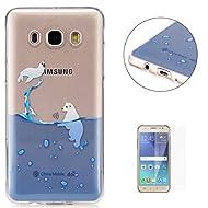 Coque Samsung Galaxy J5 2016/J510FN Transparent Gel de silicone TPU Couvrir [avec Gratuit Protecteur d'écran] KaseHom Flexible TPUGel Protecteur Peau Absorption des chocsLa technologieAnti-rayures Caoutchouc Pare-chocs coloré ÉlégantModèle Imprimé ConceptionVoir à travers Cristal Clair Silicone Couverture pour Samsung Galaxy J5 2016/J510FN-Ours Polaire