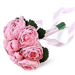 Seller-Wu Wedding Party Bridal Bouquet Bridesmaid Flower Bouquet with Silk Ribbon Peony Flowers,2 40