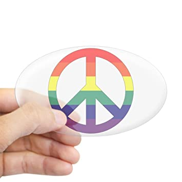 Sticker clear oval rainbow peace symbol sign
