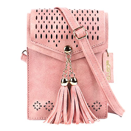 seOSTO Women Small Crossbody Bag, Tassel Cell Phone Purse Wallet -