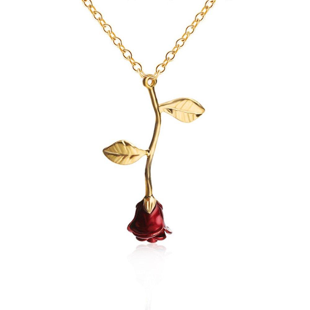 LaDiva Rose Anhä nger Halskette in Gold Rose Schmuck Geschenk 3D Anhä nger DA-Ro-23