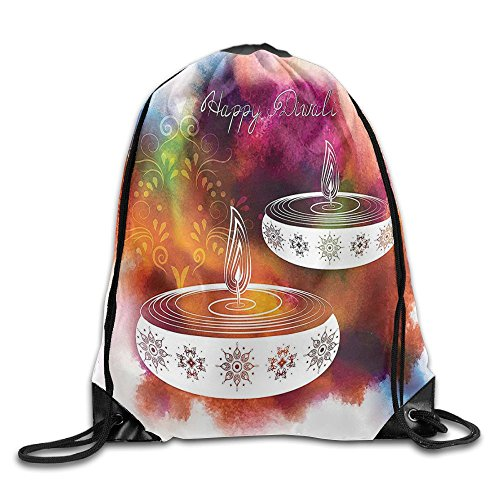 FYW Diwali Abstract Rainbow Brush Strokes Like Paisley With Festive Fire Candles Drawstring Bags Tour Gym Backpack by FYW