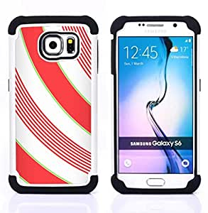 GIFT CHOICE / Defensor Cubierta de protección completa Flexible TPU Silicona + Duro PC Estuche protector Cáscara Funda Caso / Combo Case for Samsung Galaxy S6 SM-G920 // Lines White Minimalistic Girly //