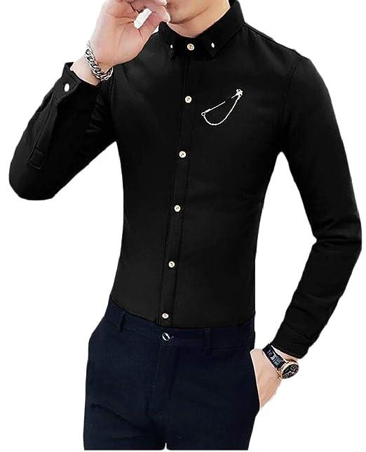 6d915881 Hokny TD Mens Long Sleeve Fleece Fashion Slim Fit British Style Dress Shirt  Black XS