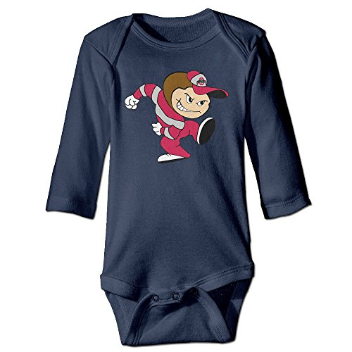 [NINJOE NewBorn Boy's & Girl's Ohio State Buckeyes Football Long Sleeve Jumpsuit Outfits Navy 6 M] (Magic Mike Baby Costume)