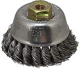 Osborn - 2-3/4'' Diam, M10x1.25 Threaded Arbor, Knotted Steel Cup Brush - 0.02'' Filament Diam, 14,000 Max RPM (7 Pack)