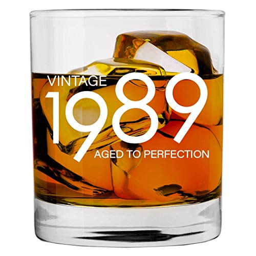 1989 30th Birthday Gifts for Men and Women Whiskey Glass | Bourbon Scotch Glasses 30th Bday Gift Ideas for Him Her Dad Mom Husband Wife | 11 oz Whisky Old Fashioned Bar Glasses Lowball Decorations ()