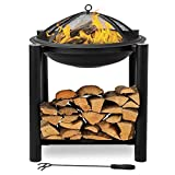 Bonnlo Outdoor Fire Pit with Firewood Rack Steel Wood Burning Pit Fire Bowl with Mesh Screen & Poker for Outside/Back Yard/Camping/Porch/Deck/Patio, 24-Inch,Black Larger Image