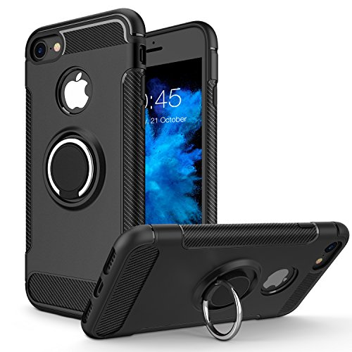 iPhone 8 Case, iPhone 7 Case, Vafru 360 Rotating Ring Grip Holder Stand & Metal Patch Shock-Absorption Drop-Protection Hard PC Shell & Soft TPU for Apple iPhone 8 (2017)/iPhone 7 (2016)