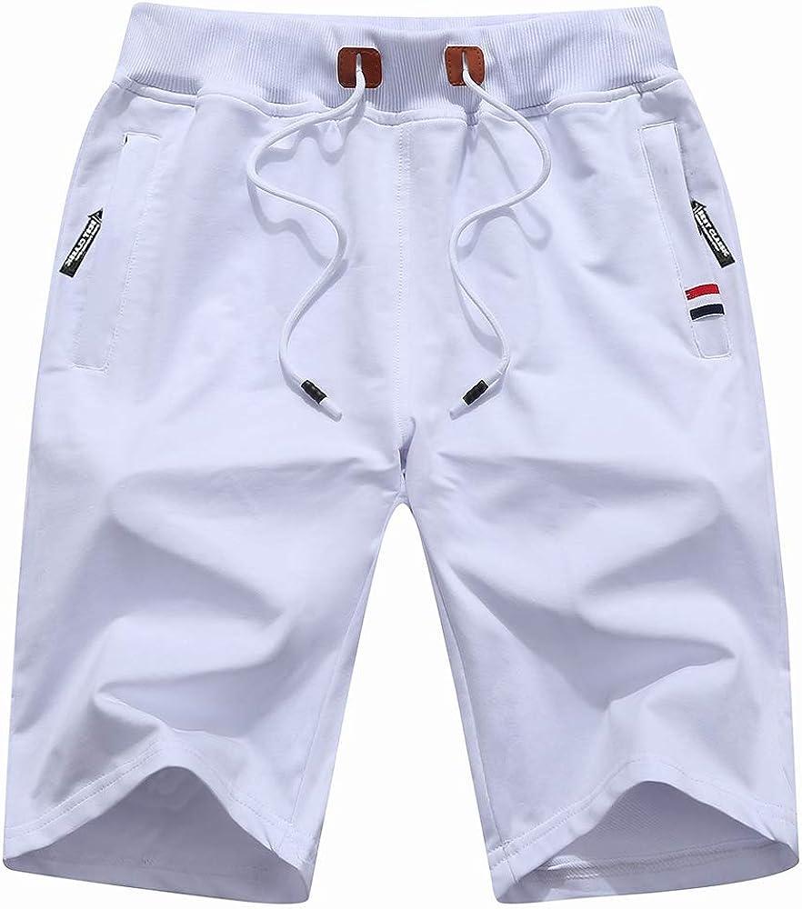 TOSKIP Men's Casual Shorts Outdoor Drawstring Lightweight Sports Shorts
