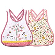 Meta-U 2 Pack Three Layers Baby Crossover Straps Apron Drool Bibs (Flower & Deer)
