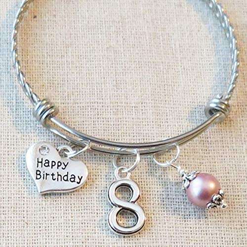 Image Unavailable Not Available For Color 8th BIRTHDAY GIRL Birthday Charm Bracelet 8 Year Old Daughter Gift Idea