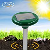 Solar Sonic Mole&Pest Repeller - 2 Piece Solar Powered Repellent Repels Mole/Rodent/Vole/Shrew/Gopher And Other Rodents By HappyHomey, Safe to Your Family, Pets And Plants