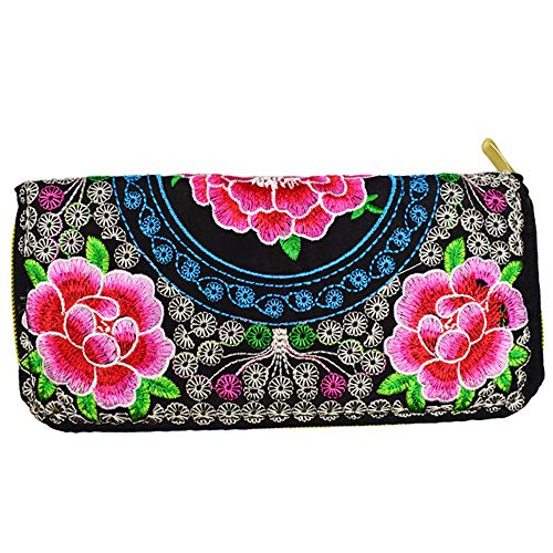 Women's Small Cute Clutch Cell Phone Cards Coin Purse Wallet with Floral Peony Embroidery