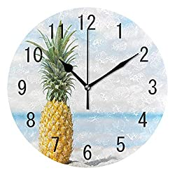 ALAZA Home Decor Summer Beach Pineapple Fruit Round Acrylic 9 Inch Wall Clock Non Ticking Silent Clock Art for Living Room Kitchen Bedroom