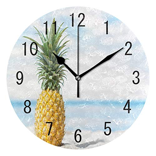 - ALAZA Home Decor Summer Beach Pineapple Fruit Round Acrylic Wall Clock Non Ticking Silent Clock Art for Living Room Kitchen Bedroom