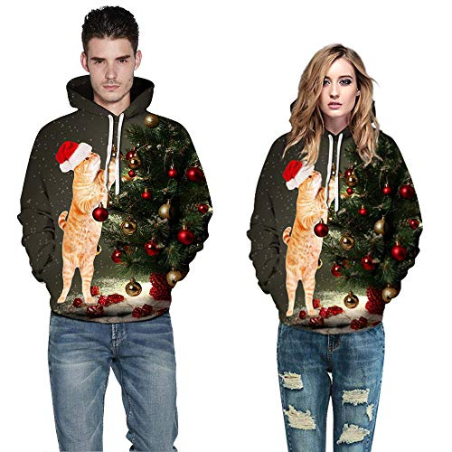 Moko-PP Men Women 3D Christmas Long Sleeve Couples Hoodies Blouse Sweatshirts