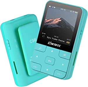 HONGYU 16GB Clip MP3 Player Bluetooth 1.5 Inch Display Portable Sport Mini Lossless Music Player with FM Radio/Voice Record for Running (Support up to 128GB)