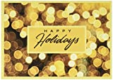 "Christmas Holiday Greeting Card H6025. Bright yellow lights enhance the ""Happy Holidays"" message. For personal or business use; gold foil-lined envelopes."