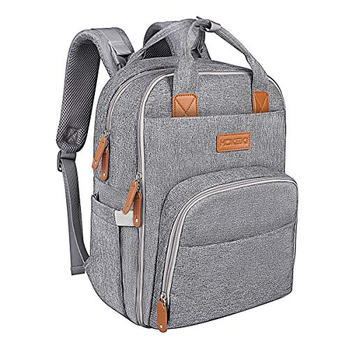 Diaper Bag Backpack for Mom and Dad, HOKEKI Large Capacity Nappy Bag Multifunction Travel Backpack Organizer, Waterproof and Stylish, Gray