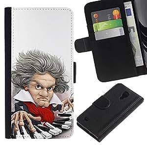 iBinBang / Flip Funda de Cuero Case Cover - Claves Mozart caricatura clásica - Samsung Galaxy S4 IV I9500