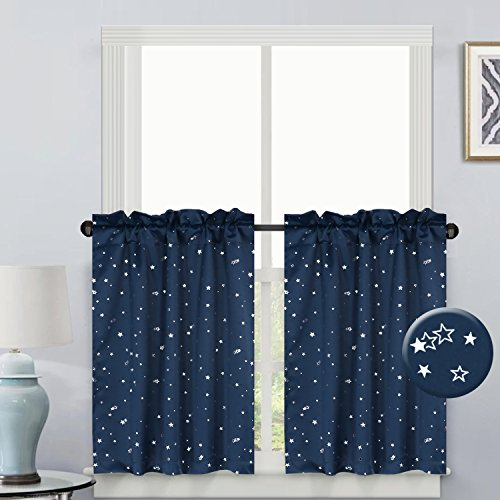 H.VERSAILTEX Thermal Insulated Light Reducing Curtain Drapes Room Darkening Rod Pocket Top Kitchen Curtain Tier Set for Kids - Navy Glitter Star Pattern- (58
