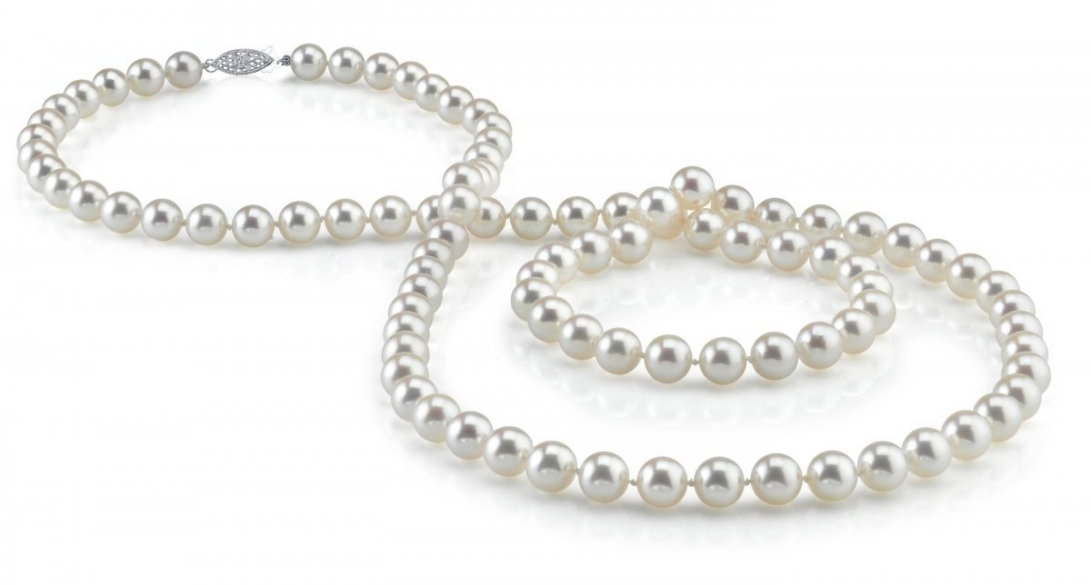 THE PEARL SOURCE 14K Gold 6.5-7.0mm Round Genuine White Japanese Akoya Saltwater Cultured Pearl Necklace in 36'' Opera Length for Women