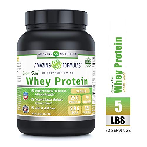 Amazing Formulas - Grass FED Whey Protein 5 Lbs -(Non-GMO) - Made with Natural Sweetener and Flavor - rBGH & RBST Free -Supports Energy Production & Muscle Growth (5 LB, Vanilla)