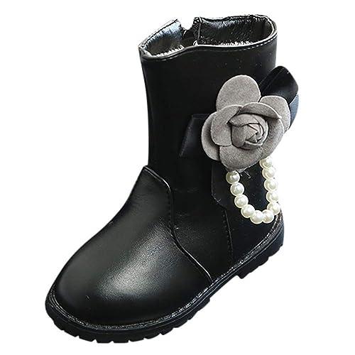 Botas Medias de Flores Botas de Nieve de Niñas Botas de Martin Estilo Británico Zapatos de