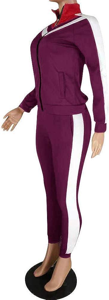 Damen Mode Streifen Trainingsanzug M/ädchen Lange /Ärmel Zipper Top Lange Hose Sportswear 2 St/ück Bekleidungsset Sport