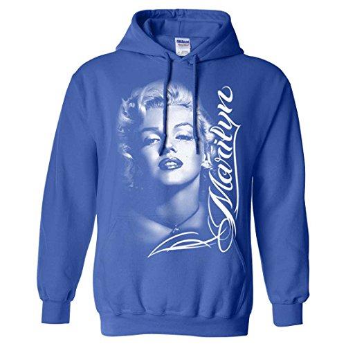 Marilyn Monroe Portrait Signature Sweatshirt Hoodie - Royal X-Large