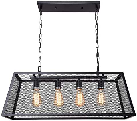 4-Light Kitchen Island Pendant Light Modern Industrial Chandelier Matte Black Shade with Fine Mesh Design No Bulb Included