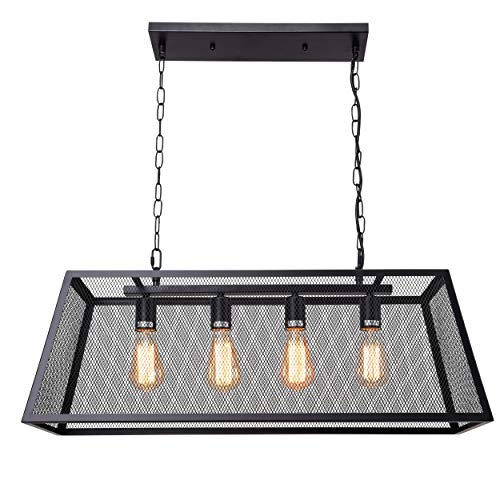 Diborui 4-Light Industrial Kitchen Island Lighting with E26 Sockets, Rectangular Vintage Pendant Light, Farmhouse Hanging Ceiling Light Fixture Fine Mesh Metal Retro Chandeliers