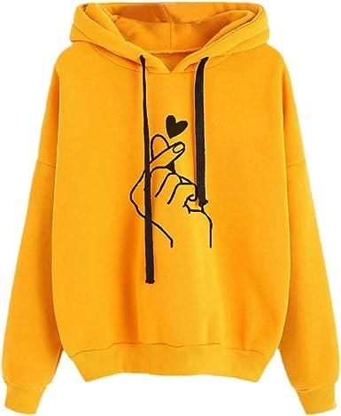 Sudadera con Capucha para Mujer,Moda Manga Larga Casual Impresión Sudaderas Invierno Jersey con Capucha Mujer Otoño Primavera Blusa Tops Tumblr Suéter ...